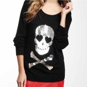 S Wildfox White Label Sequin Love Skull Sweatshirt